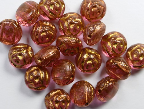CR-00030-19306 Crystal Pink 2 Dyed Bronze Painted 2-hole Candy Rose Bead 20 Pc.-0