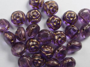 CR-00030-12306 Crystal Violet 2 Dyed Bronze Painted 2-hole Candy Rose Bead 20 Pc.-0