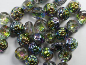 CR-00030-28137 Crystal Vitrail Blue 2-hole Candy Rose Bead 20 Pc.-0