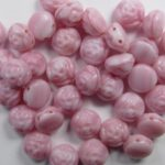CR-07724 Pink Silk Overlay 2-hole Candy Rose Bead 20 Pc.-0