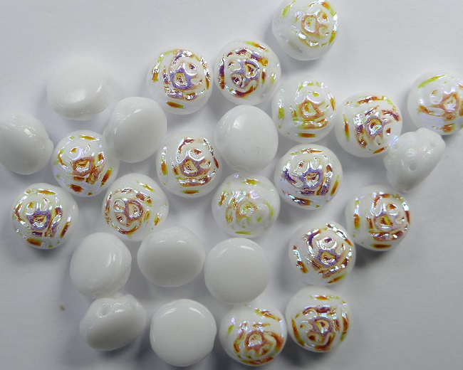 CR-02010-28701 White Alabaster AB 2-hole Candy Rose Bead 20 Pc.-0