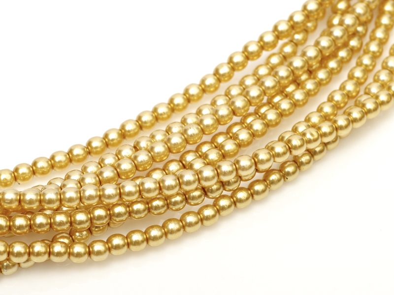 08-132-70486 Light Gold Glass Pearl 25 Pc.-0