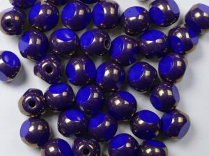 0090398 Opaque Royal Blue Bronze 3 Cut 6 mm. 18 Pc.-0