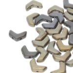 CHEV-00030-01670 Chevron Duo Beads Matte Metallic Leather  30 stuks-0