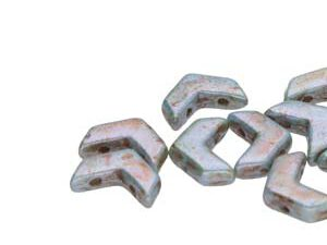 CHEV-02010-65431 Chevron Duo Beads White Alabaster Lazure Blue 30 stuks-0