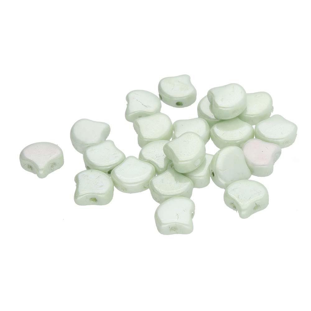 GIN-03000-14457 Matubo 2 Hole Ginko Bead Chalk White Green Luster 10 gram-0