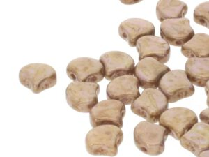 GIN-03000-15695 Matubo 2 Hole Ginko Bead Chalk White Senegal Brown 10 gram-0