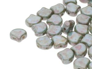 GIN-03000-65431 Matubo 2 Hole Ginko Bead Chalk White Lazure Blue 10 gram-0