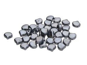 GIN-23980-14400 Matubo 2 Hole Ginko Bead Jet Hematite 10 gram-0