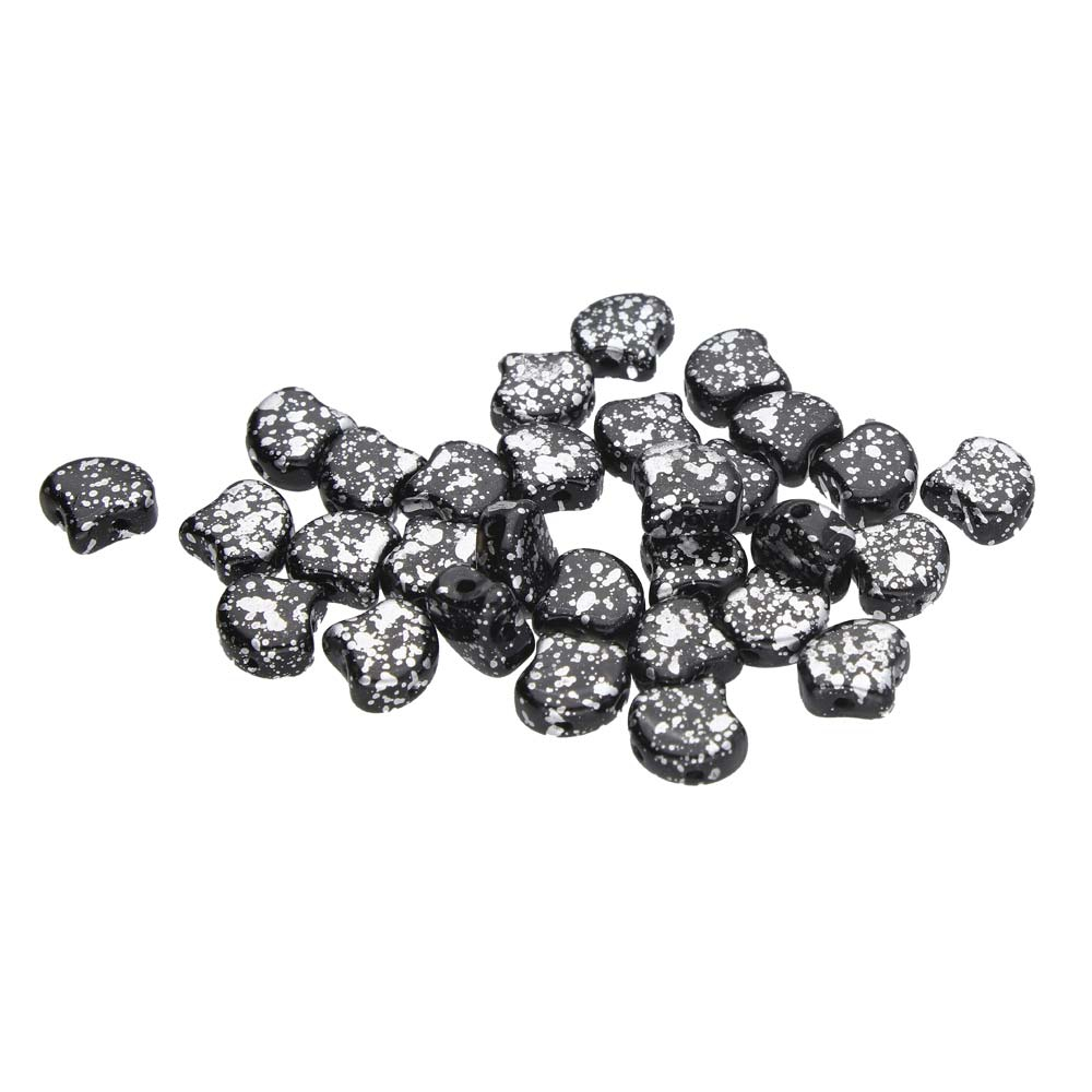GIN-23980-15481 Matubo 2 Hole Ginko Bead Jet Silver Splash 10 gram-0