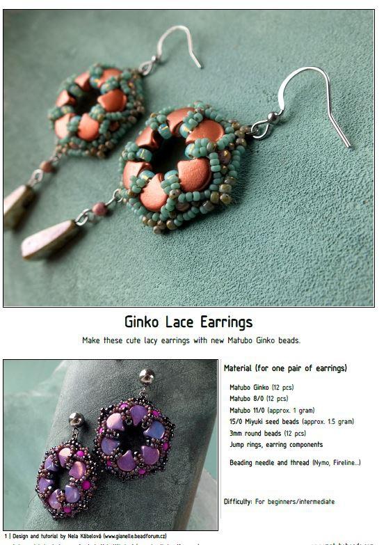 Free Pattern with Ginko Ginko Lace Earrings-0