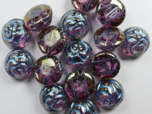 CR-00030-96842-12 Crystal Gold Luster Light Blue Painted 12 mm 2-hole Candy Rose Bead 10 Pc.-0