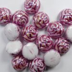 CR-02010-96845-12 White Alabaster AB Pink Painted 12 mm 2-hole Candy Rose Bead 10 Pc.-0