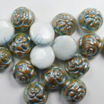 CR-02010-96850-12 White Alabaster Apricot Light Blue Painted 12 mm 2-hole Candy Rose Bead 10 Pc.-0