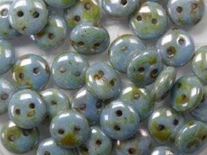 CML-03000-65431 CzechMate Lentils Chalk White Blue Lazura Luster 40 Pc.-0