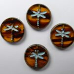 0030010 Topaz Melee Dark Travertin Light Aqua Wash Dragonfly Table Cut Bead 4 Pc.-0