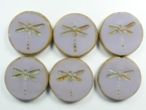 0080308 Milky Light Amethyst Travertin Gold Wash Dragonfly Table Cut Bead 4 Pc.-0