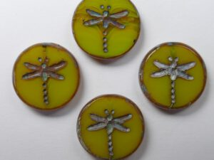 0130008 Opal Yellow Travertin Dragonfly Table Cut Bead 4 Pc.-0