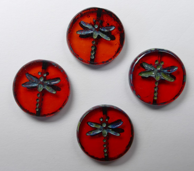 0050019 Light Siam Ruby Travertin Dragonfly Table Cut Bead 4 Pc.-0