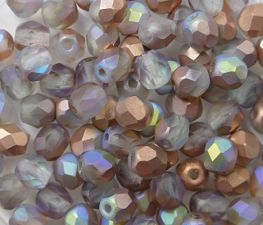 0070314 Crystal Matte Copper Rainbow facet, 4mm. 50 stuks-0