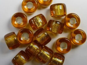 0030086 Silver Lined Topaz Roller Bead. 25 Pc.-0