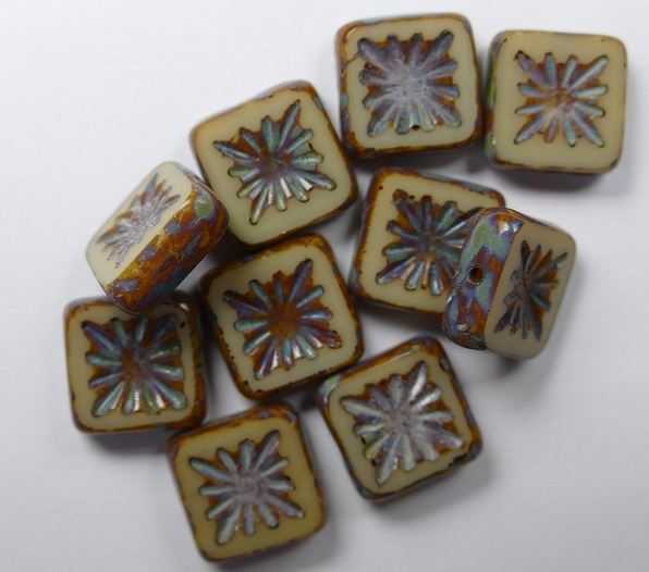 0040008 Opaque Beige Dark Picasso Squared Kiwi Table Cut Bead. 6 Pc.-0