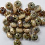 0040021 Opaque Beige Travertin Donut Facet 7 x 4 mm. 18 Pc.-0