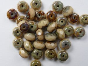 0040021 Opaque Beige Travertin Donut Facet 7 x 4 mm. 18 Pc.-0