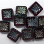 0050023 Siam Ruby Picasso Squared Kiwi Table Cut Bead. 6 Pc.-0