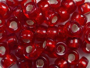 0050086 Silver Lined Red Roller Bead. 50 Pc.-0