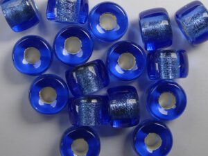 0090075 Silver Lined Sapphire Roller Bead. 25 Pc.-0