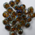 0130035 Transparent Amber Picasso Soccer Bead 8 mm. 15 Pc.-0