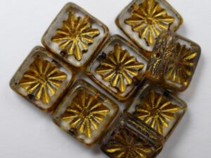 0150071 Crystal Picasso Gold Patina Squared Kiwi Table Cut Bead. 6 Pc.-0