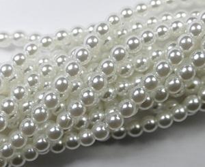 03-132-19001-70400 Shiny Bright White glass Pearl 150 Pc.-0