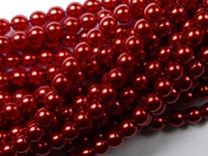04-132-19001-70498 Shiny Red Glass Pearl 4 mm. 120 Pc.-0