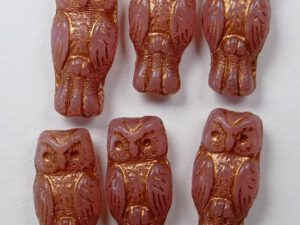 OWL-71010-54319 Owl Bead Rose Opal Bronze Patina 12 Pc.-0