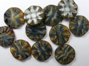 0030063 Black-grey dark Picasso Table Cut Sun Bead 4 stuks-0