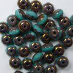 0100532 Green Turquoise Bronze Facet Rondelle 6 x 4 mm. 16 stuks-0