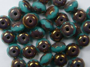0100532 Green Turquoise Bronze Facet Rondelle 6 x 4 mm. 16 stuks-0
