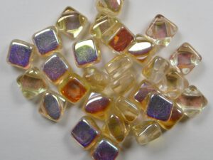 SL-00030-98531 Silky Bead Crystal Yellow Rainbow 30 Pc.-0