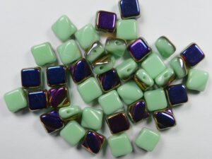 SL-53100-29500 Silky Bead Opaque Light Green Sliperit 30 Pc.-0