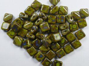 SL-53400-86800 Silky Bead Opaque Green Travertin 30 Pc.-0