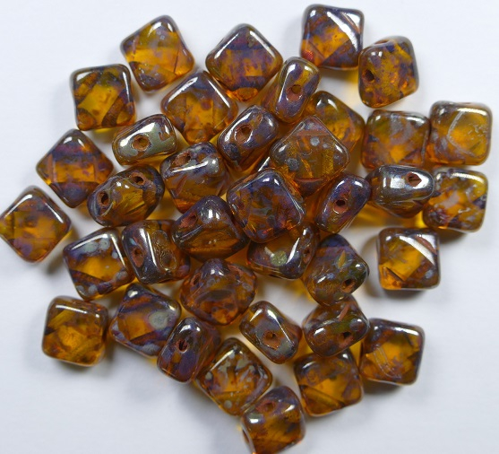 SL-80000-43400 Silky Bead Amber Silver Picasso 30 Pc.-0