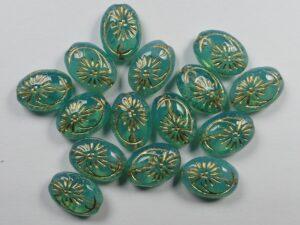 0100084 Ovale kraal met bloem Milky Aquamarine Gold Inlay 25 stuks-0