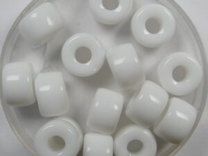 0140258 Chalk White Roller Bead. 25 Pc.-0