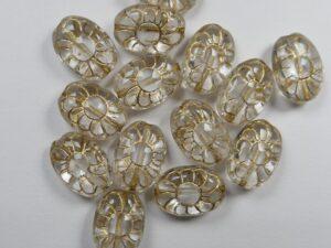 0150122 Ovale bloem Crystal gold inlay 12 stuks-0