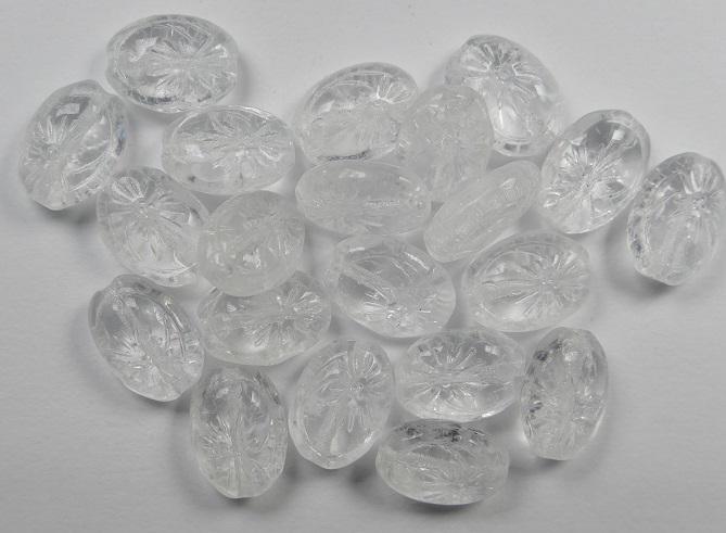 0150180 Ovale kraal met bloem Crystal 25 stuks-0