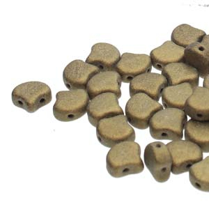 GIN-23980-79080 Matubo 2 Hole Ginko Bead Metallic Suede Gold 10 gram-0