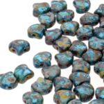 GIN-60020-86805 Matubo 2 Hole Ginko Bead Aquamarine Picasso 10 gram-0