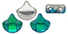 GIN-00030-60020 Matubo 2 Hole Ginko Bead Backlit Aquamarine 10 gram-0